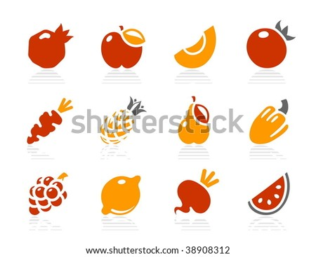Fruits and vegetables icons. Vector icon set. Three color icons. - stock vector