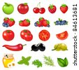 Fruits And Vegetables, Isolated On White Background, Vector Illustration - stock vector