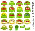 Fruits And Vegetables Labels Set, Isolated On White Background, Vector Illustration - stock vector