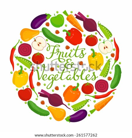 Fruits and vegetables lettering. Vector fruits and vegetables with a lettering on a white background. - stock vector
