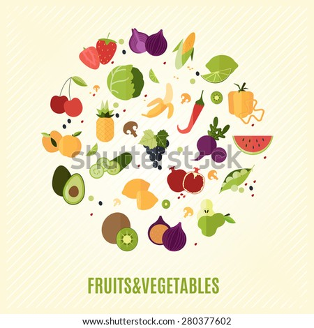 Fruits and vegetables. Organic food icons vector illustration and background - stock vector