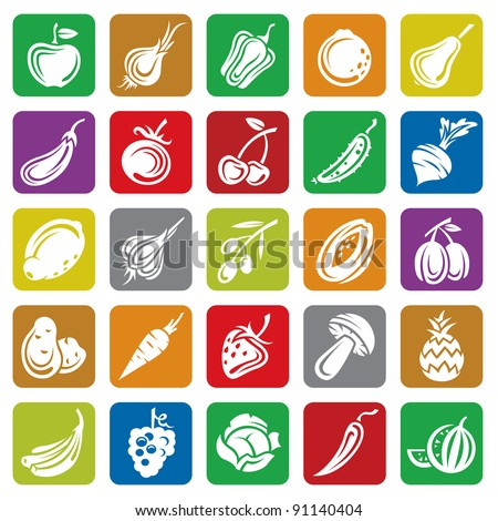 fruits and vegetables set - stock vector