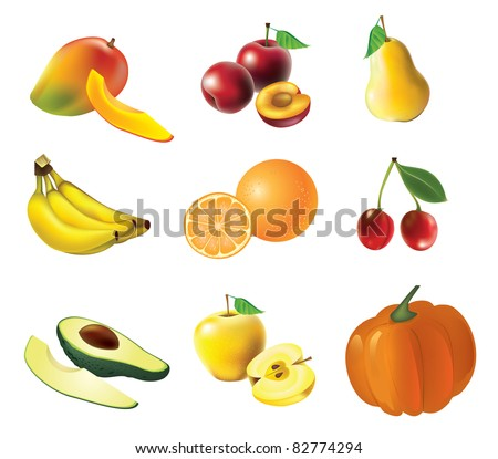 Fruits and vegetables, set of isolated, detailed vector illustrations and icons - stock vector