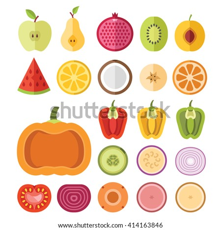 Fruits and vegetables slices set. Apple, pear, pomegranate, watermelon, lemon, apricot, banana, pumpkin, pepper, tomato, other vegetables, fruits. Flat vector slices icons isolated on white background - stock vector