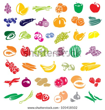 Fruits and vegetables vector collection. Fruits set. Vegetables set.