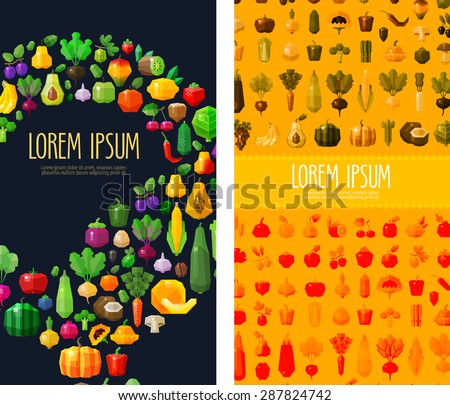 fruits and vegetables vector logo design template. fresh food or gardening, horticulture icon. flat illustration - stock vector