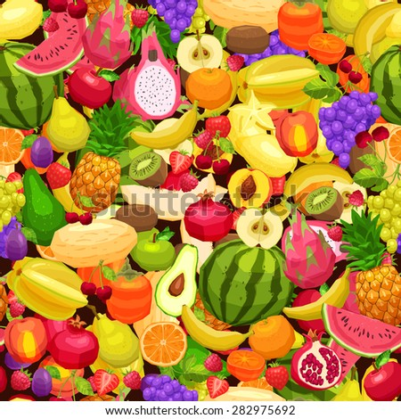 Fruits Background, Bright Seamless Pattern With Different Fruits - stock vector