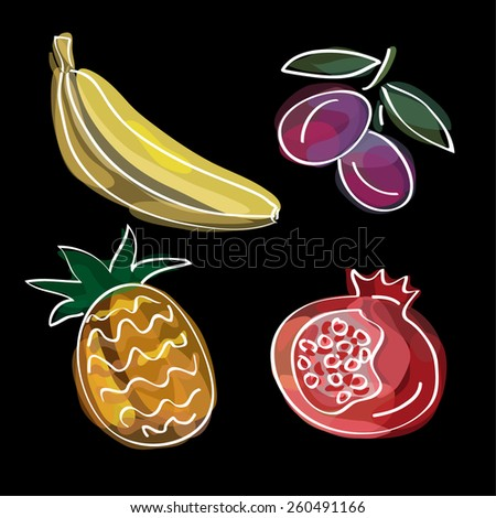 Fruits: banana, plum, pineapple, pomegranate. Fruit vector illustration, doodle design. Watercolor imitation. Cute food background. Hand drawn fruit icons. - stock vector