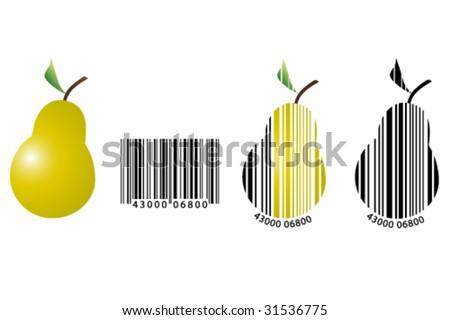 fruits barcode - stock vector