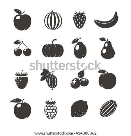 Fruits Black Icons. Different fruits icons on white background. Vector illustration