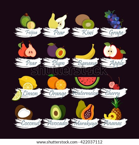 Fruits collection. Set of fruits icons. Flat style design - stock vector