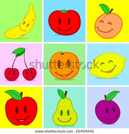 Fruits doodle face smile - vector - stock vector