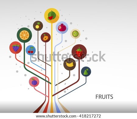 Fruits flat concept with long shadow effect icon for Web, Presentations and Mobile Application. - stock vector