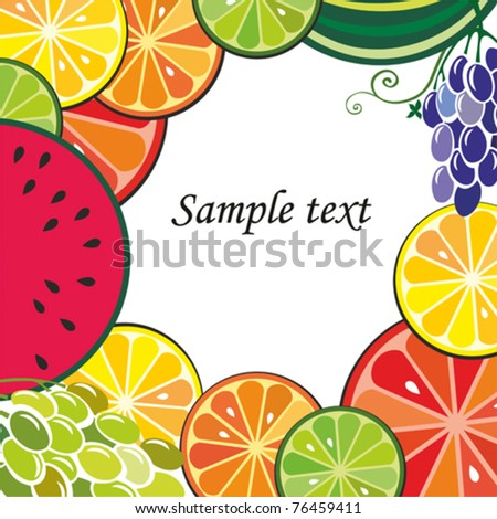 Fruits frame with space for your text.  vector illustration