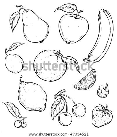 черно белые картинки овощи и фрукты