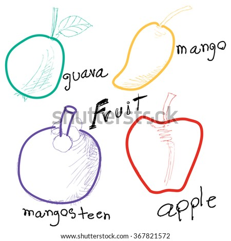 Fruits Group hand drawing - stock vector