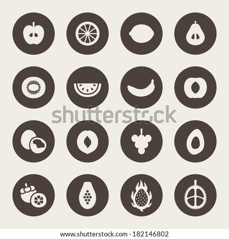 Fruits icon set - stock vector