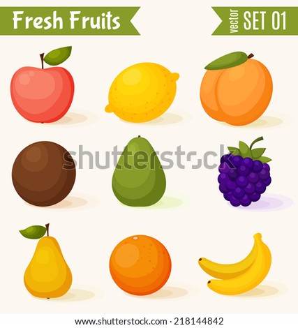 Fruits icon set. Colorful template for cooking, restaurant menu and vegetarian food  - stock vector