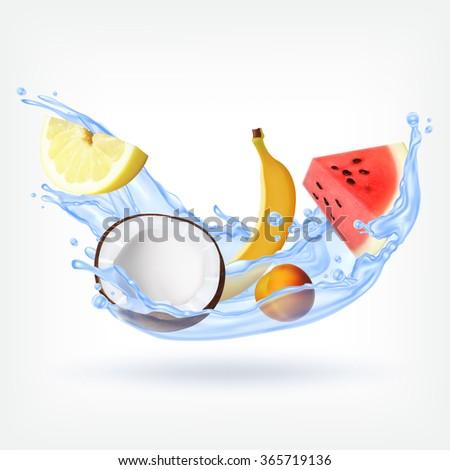 Fruits in splashing water. EPS10 vector - stock vector