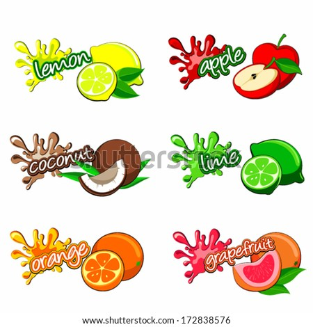 fruits label - stock vector