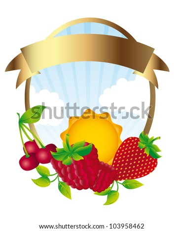fruits label isolated over white background. vector illustration - stock vector