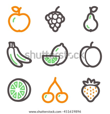 Fruits mobile icons set, vector symbols.