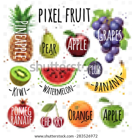 Fruits, pineapple, pear, apple, grapes, kiwi, watermelon, plum, banana, pomegranate, cherry, orange, apple drawing in pixel style on  white background - stock vector