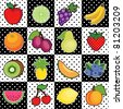 Fruits, polka dot tiles, fresh fruits: apple, lime, grape, banana, orange, plum, pear, strawberry, kiwi, pineapple, cantaloupe, blueberry, watermelon, cherry, lemon, peach. EPS8 compatible. - stock photo