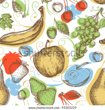 Fruits seamless pattern - stock vector