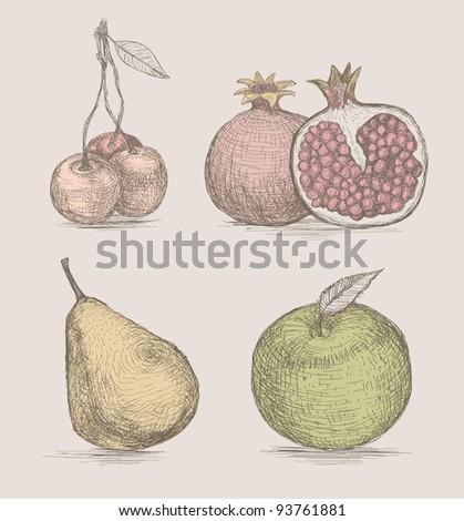 Fruits set (non-expanded strokes) - stock vector