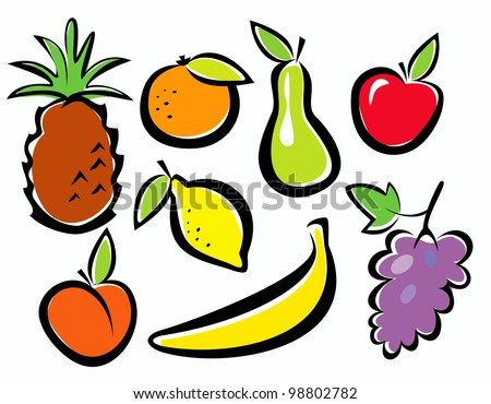 fruits set vector illustration in cartoon style