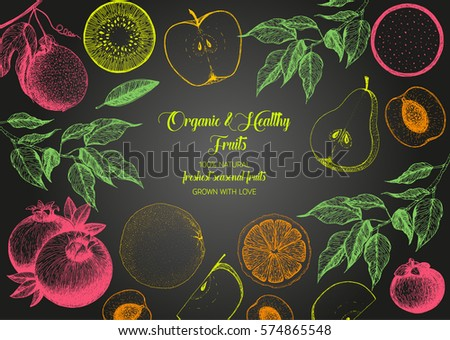 top hand design fruits top view frame farmers market stock vector 574865548