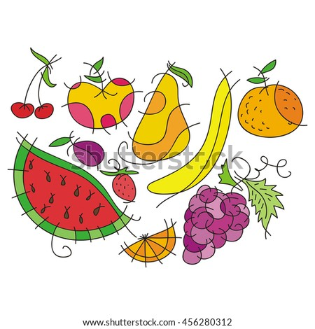 Fruits. Vector illustration.