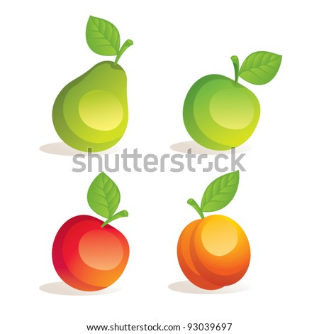 Fruits vector illustration: apple, peach and pear. Isolated on white background - stock vector