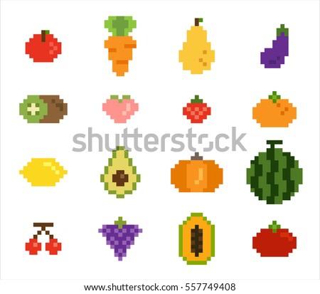 Fruits Vegetable Pixel Vector Illustration Flat Stock ...