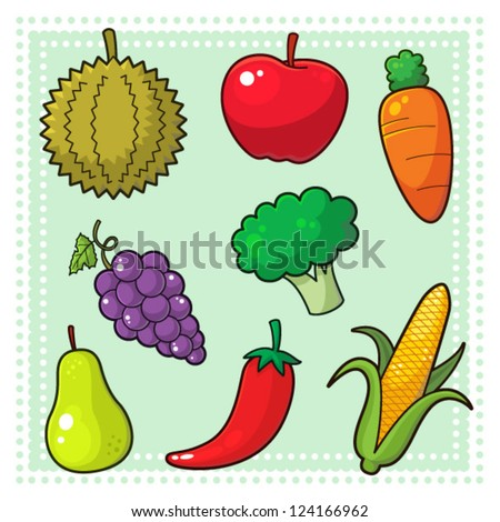 Fruits & Vegetables 01 Image of nature products, fruits and vegetables. EPS8 vector file.