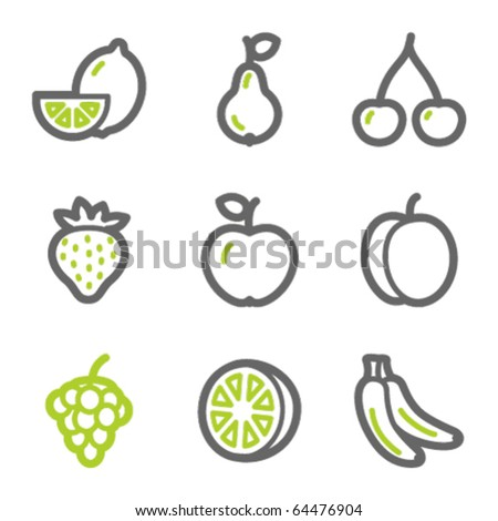 Fruits web icons, green and gray contour series