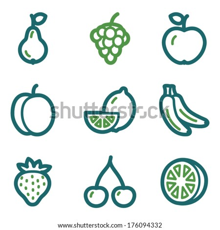 Fruits web icons, green line set