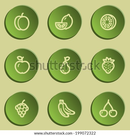Fruits web icons, green paper stickers set