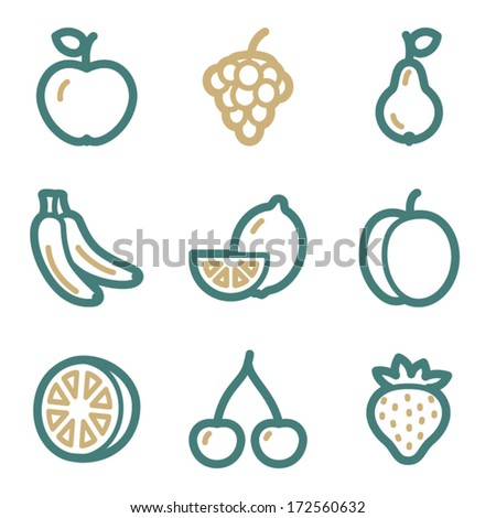 Fruits web icons, two color series