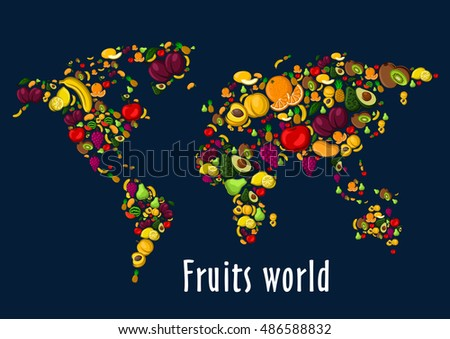 Fruits world map placard vector wallpaper vectores en stock fruits world map placard vector wallpaper of globe continents of fruit icons watermelon grape gumiabroncs Image collections
