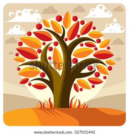Fruity tree with ripe apples placed on stylized background. Organic and eco food idea vector image, harvest season. - stock vector
