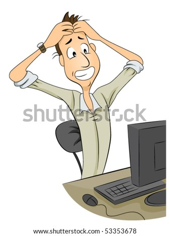 Frustrated Man in front of Computer - Vector - stock vector