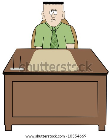 frustrated overworked business man sitting at his desk - vector