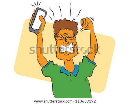 Frustrated Smart Phone User - stock vector