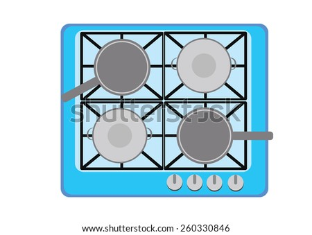 Frying pan on gas burner. Vector Illustration - stock vector