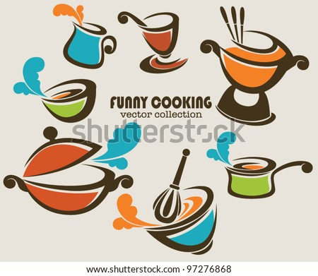 frying pans, woks and other kitchen stuff, vector collection - stock vector