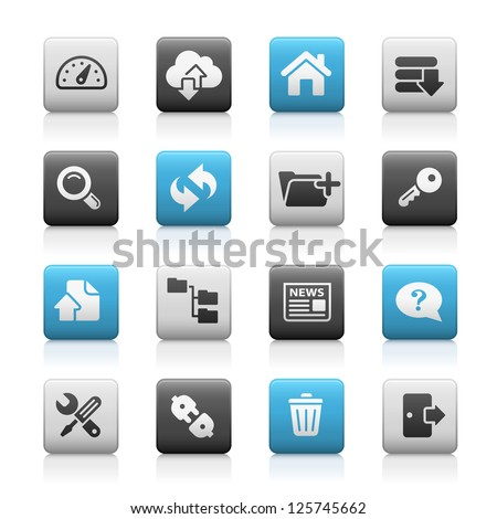 FTP & Hosting Icons // Matte Series - stock vector