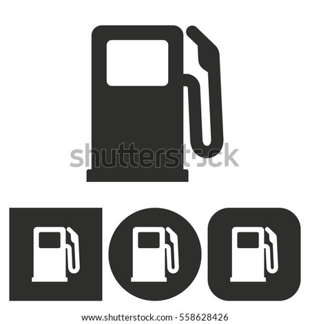 Fuel - black and white icons. Vector illustration.