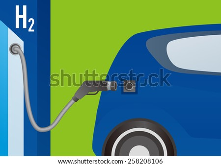 Fuel Cell Car and Hydrogen station - stock vector